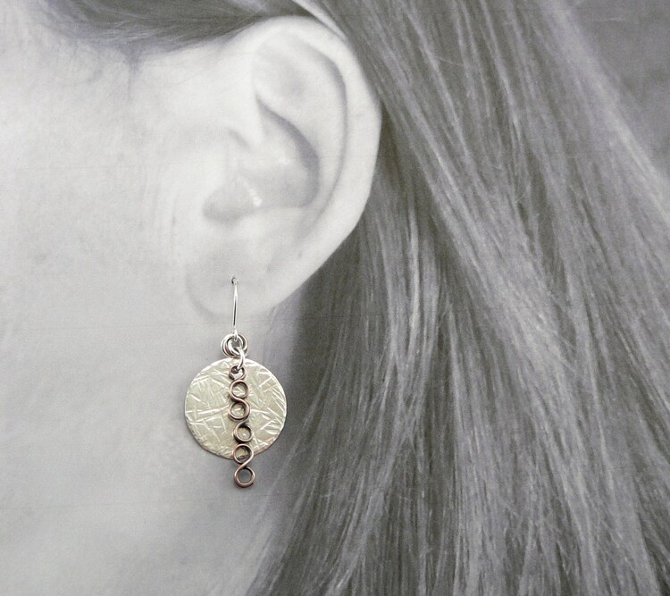 Hammered Silver Earrings Mixed Metal Earrings By Touchofsilver