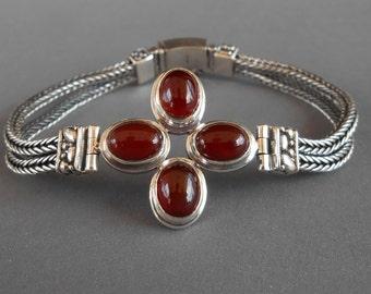 Sterling Silver Bracelet Carnelian cabochon gemstones / Silver 925 / Bali handmade jewelry