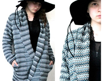 70s Vintage/ Blue Waves Grid Cardigan/ Size Large