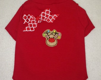 Nose So Bright Reindeer Dog TShirt Clothes Size XXXS through Medium by Doogie Couture