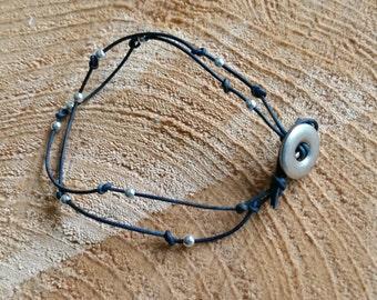Blue Leather Stacking Bracelet