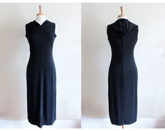 Vintage 1990s Black Stretch Knit Hooded Midi Dress
