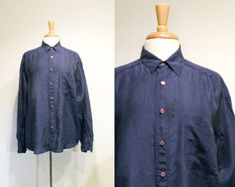 Vintage Slouchy Button Down Navy Silk Top
