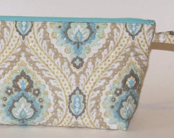 Quilted Makeup Bag, Wristlet, Clutch, Turquoise with Gold Accents