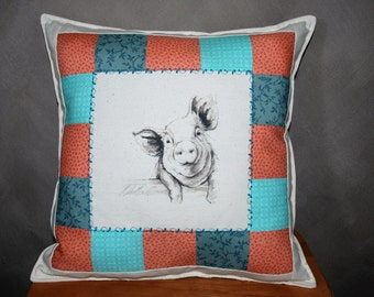 "Country Pig Pillow Teal, Salmon & Beige 15.5"" x 15.5"" square"