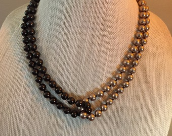 "Brown and bronze 8mm 2-strand pearl 18"" necklace."