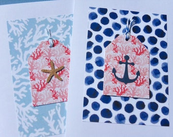 Set of 2 Nautical Note Cards - Nautical Thank You Cards - Party Invitations - Anchor Cards - Starfish Cards - Polka Dot Cards - NA28
