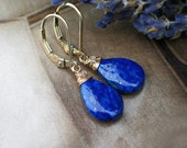 Lapis Lazuli Earrings | Royal Blue Smooth Pear Drops | Wire Wrapped in 14k Gold Filled Leverback Dangles | Galaxy Gold | Gift Ready to Ship