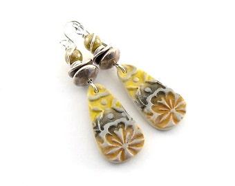 Mustard and Silver Tribal Earrings - Polymer Clay Earrings - Silver Earrings - Antique Silver - Lightweight Earrings - Boho Earrings - AE042