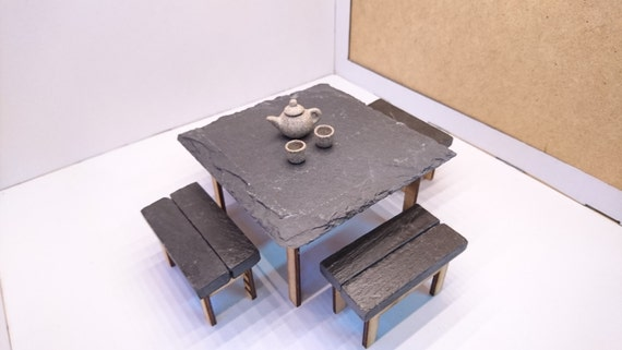 Modern original furniture,  real slate garden table with 4 chairs, 1/12 miniature for dollhouses