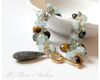 Aquamarine, Tiger's Eye, Black Rutilated Quartz, Cat's Eye Bracelet