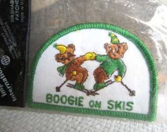 Vintage Boogie On Skis Iron On Patch