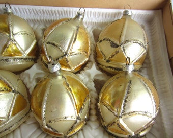 Vintage West Germany Christmas Ornaments Gold Crown Kresge Hand Painted in Bavaria