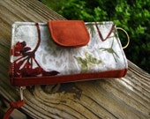 Custom Order for Meghan /Nature Waxed Cotton Wallet with wristlet/Minimalist card-key holder/ mini clutch/ zipper coin pocket/ holds 9 cards