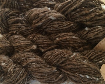 Yarn, Handspun, Undyed, Maine Icelandic Wool, Single Ply, Worsted Weight, Natural Brown