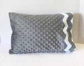 Toddler Pillowcase Fits 12 x 16 Pillow Gray Minky Dot Chevron Travel Size Pillow Cover