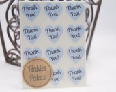 36 Baby Blue Heart Thank You Stickers 3/4 Inch Stickers Envelope Seals Packaging Stickers