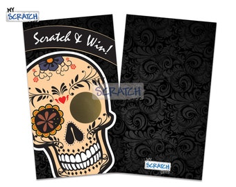 Sugar Skull Scratch Off Game Cards - Dia de los Muertos Day of the Dead Scratch and Win