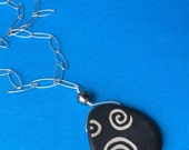 FREE SHIPPING Sterling Silver Chain and Black Grahic Design Stone Pendant