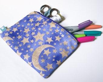 Gold Glitter Stars/Moons on Purple- Medium Zipper Pouch, Star Pencil Case, Galaxy Pencil Pouch, iPhone Pouch