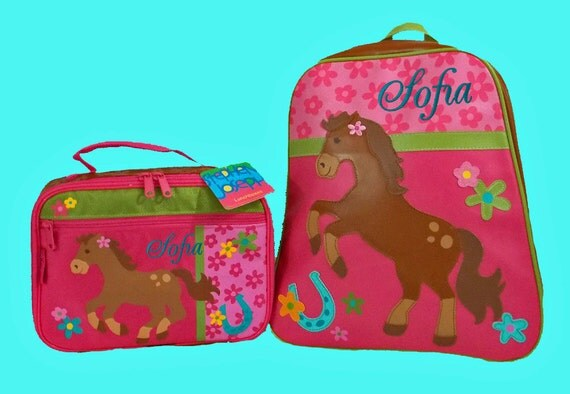 Child's Personalized Stephen Joseph GoGo GIRL HORSE Themed Backpack and Lunchbox School Set-Monogramming Included In Price