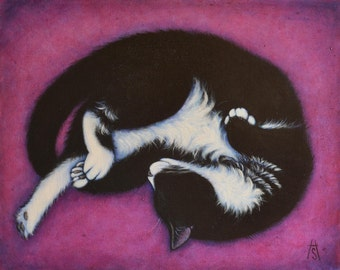 Tuxedo Cat original oil painting. Charlie on Purple