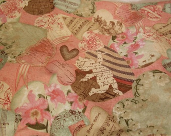 Victorian Valentines Day Fabric-Vintage Style Cupid-Fabric by the Yard-Valentines Day