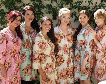 Custom Pastel Floral Posy Bridesmaids Robe Sets | Kimono Robes, Spa Wrap, bridesmaids gift, getting ready robes, Bridal Shower, Wedding Robe
