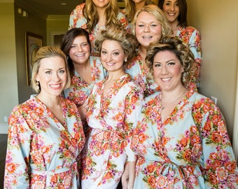 Light Blue with Orange Flowers Floral Posy Bridesmaids robes Sets | Kimono Robes, Bridesmaids gift, getting ready robes, Bridal party robes