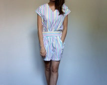 Womens Playsuit 80s White Jumpsuit Pockets One Piece Romper Shorts Colorful Onesie Adult - Small to Medium S M
