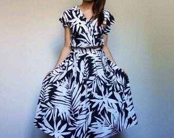 80s Dress Party Dress Leaf Print Dress Secretary Dress Black White Dress Novelty Print Dress Polka Dot Dress - Small S