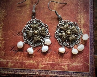 Tudor Cross and Pearl Historical  Earrings