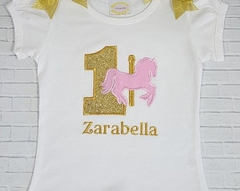 Carousel Horse Pink & Gold Theme Personalized Shirt Or Onesie 1st 2nd 3rd 4th 5th 6th Birthday Top