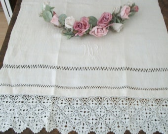 1920s Antique White Linen Crochet Embroidered Initial Tablecloth Tablerunner Lovely