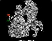 Beauty and the Beast iron on crystal clear rhinestone transfer applique patch