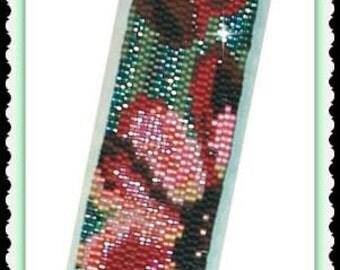 BP-AB-129ab - Floating Blossoms - 2 Drop Peyote Stitch Bracelet Pattern, Peyote Bracelet Pattern, beadweaving tutorial, beadwork