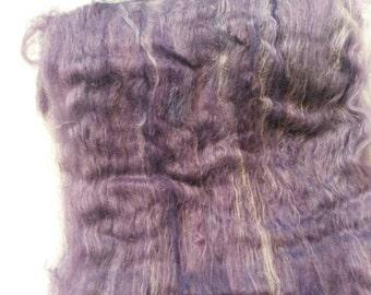 Suri Alpaca Fiber Batt, 100% Suri Alpaca, Hand dyed Alpaca, Luscious Spinning Batt,  Purple Batts, 4.2oz