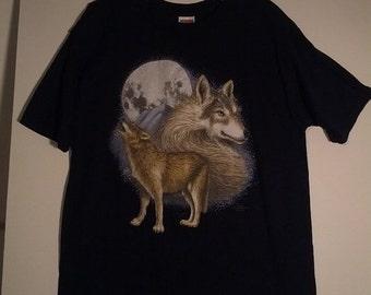 SALE wolf wear tshirt moon grunge shirt medium men small