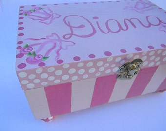 Hand Painted Jewelry Boxes-Personalized jewelry wooden boxes-Pink Ballet boxes-treasure keepers