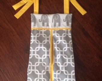 baby crib Diaper stacker holder elephant grey chevron yellow