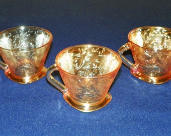Floragold Louisa Iridescent Cups by Jeannette Glass, Set of 3 MINT Flora Gold Carinival Glass Square Footed Cups,