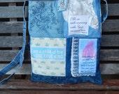 "Mixed Denim Fabric Patchwork Bag ""Your Love"",Handmade CrossBody Bag, Eco-Friendly bag,Shoulder Bag,Messenger Bag,Quilted Bag,  Blue"