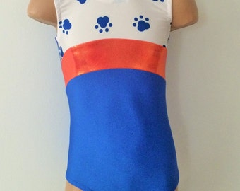 Gymnastics Dance Leotard. Blue with Paw Print Insert Leotard. Dancewear. Toddlers Girls Leotard.   Size 2T - GIRLS 12