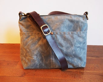 Small Zip Top Cross Body Waxed Canvas and Leather Bag
