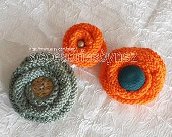 Knit Flower Pattern, Brooch Pin Pattern, Hair Pin Pattern, Tutorial Videos, Knitting Pattern PDF , Knitted Flower, Flower Brooch Pin