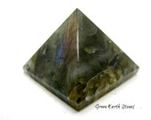 Labradorite Carved Pyramid, Protection, Intuition, Crystal Grid, Feng Shui