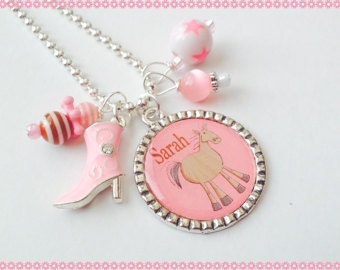 Country Horse Jewelry - Hand Stamped Charm Necklace Personalized and Custom Jewelry Cowgirl Necklace