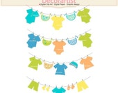 ON SALE Baby boy clothes bunting Clip Art , baby Clothes Line clip art, INSTANT Download
