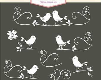 ON SALE Clipart Bird, Silhouette Black and White Birds, White Birds Clip Art, Belgravia bird collection