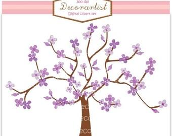 ON SALE Tree clipart, purple tree and butterflies, instant download clipart, purple, trees clipart